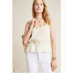 Anthropologie CLOTH & STONE LINEN PEPLUM BLOUSE